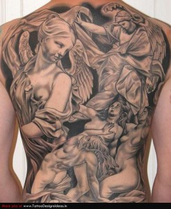 Beautiful angel back piece done in black and grey