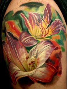 colorful realism tattoo of lilies